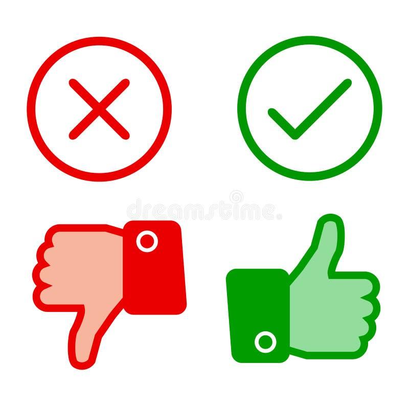 Arriba y abajo del dedo índice con la marca de verificación y la cruz - libre illustration