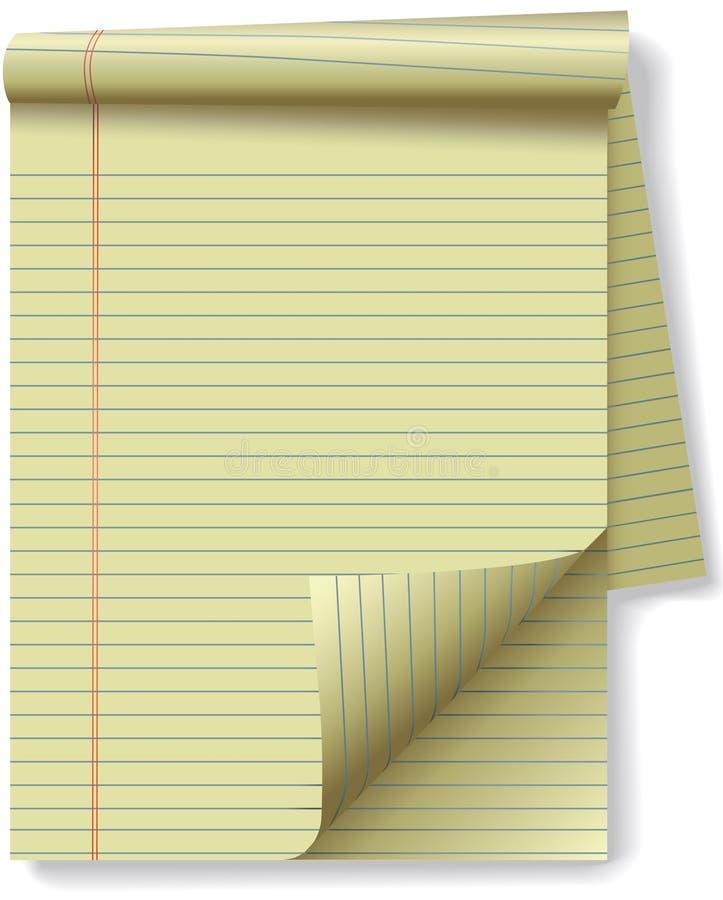 Arricciatura gialla della pagina del documento dell'angolo del rilievo legale illustrazione vettoriale