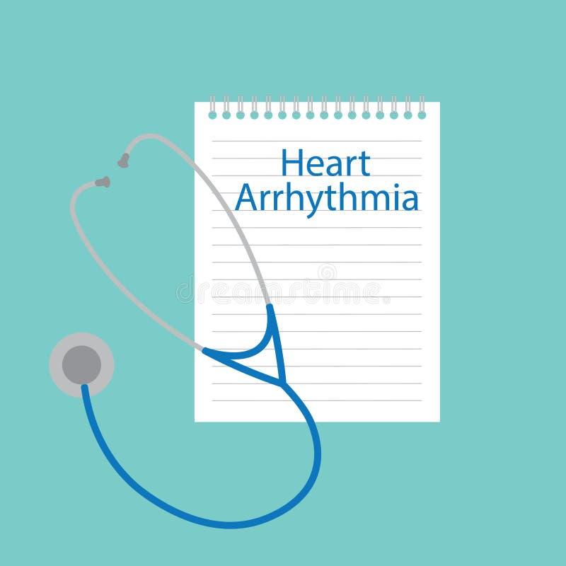 Arritmia del corazón escrita en un cuaderno stock de ilustración