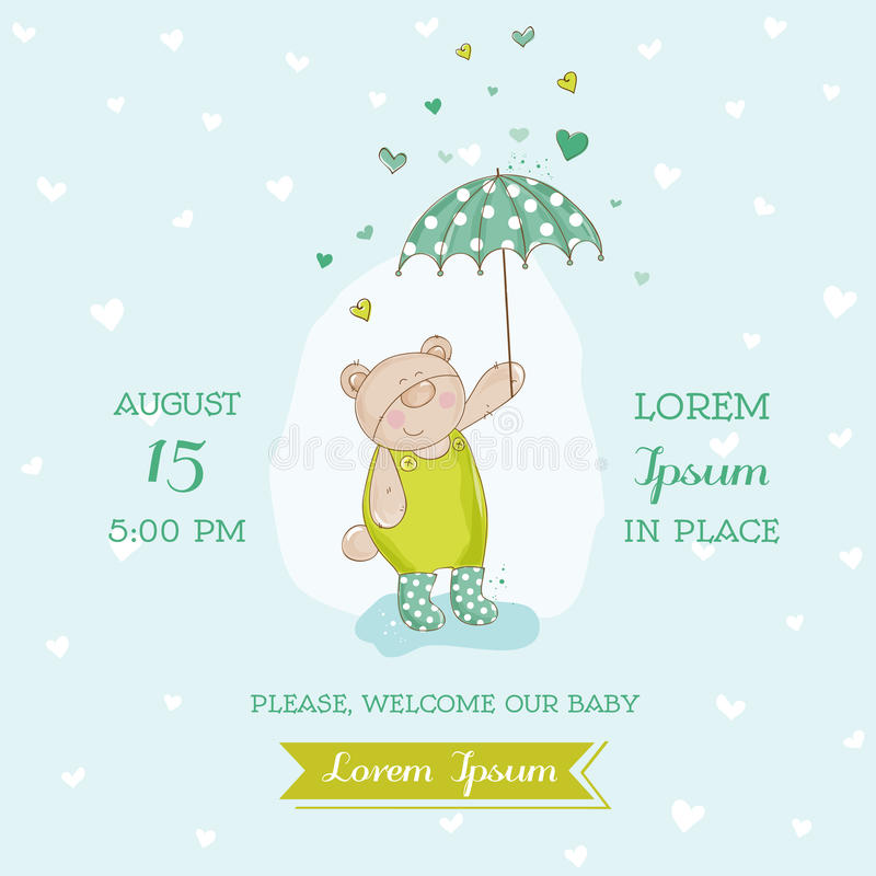 Arrivée de bébé ou carte de douche illustration libre de droits