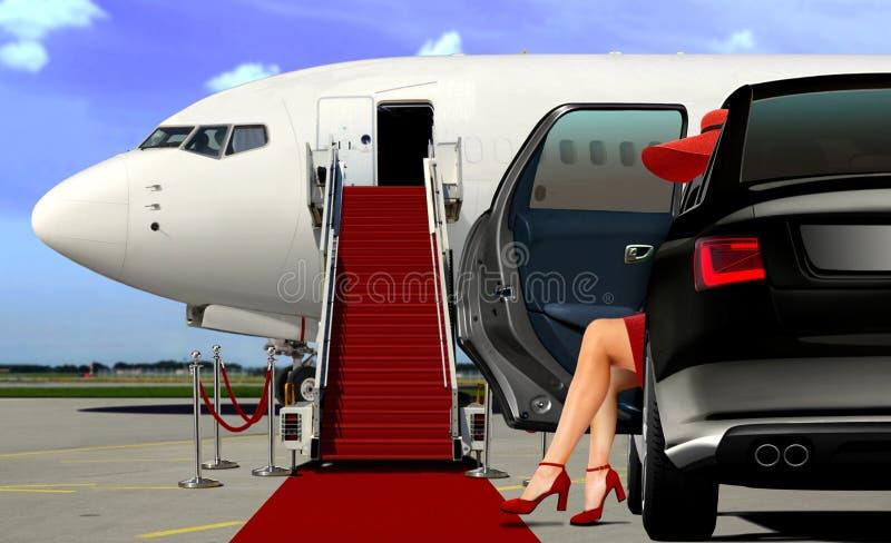 Arrivée de limousine à l'aéroport avec le tapis rouge photographie stock libre de droits
