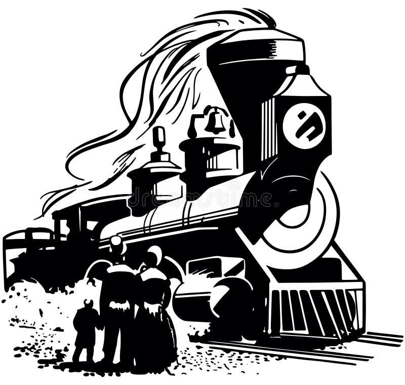 Arrivée de locomotive à vapeur illustration libre de droits