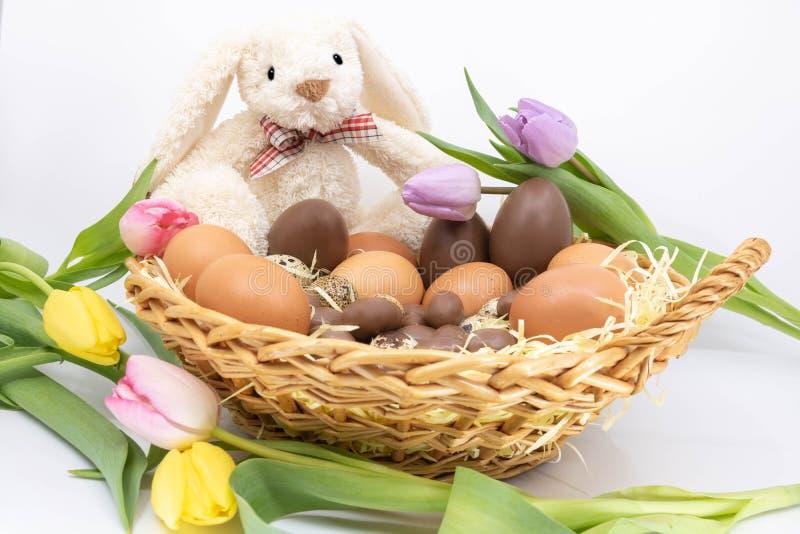 Arrivée de ressort et de Pâques - les tulipes et les oeufs de chocolat accompagne le lapin de Pâques photo stock