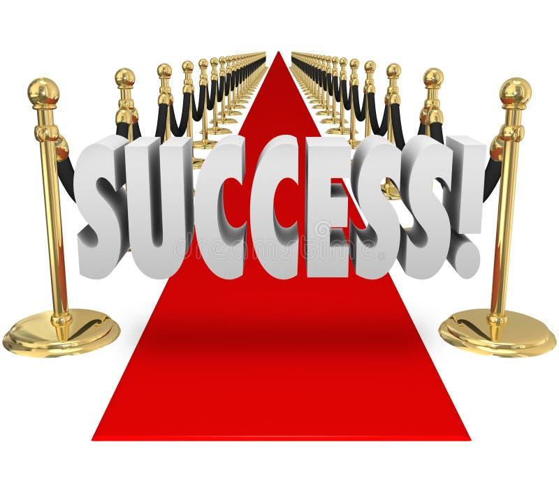 Arrivée exclusive rouge d'entrée du tapis VIP du succès 3d Word illustration libre de droits