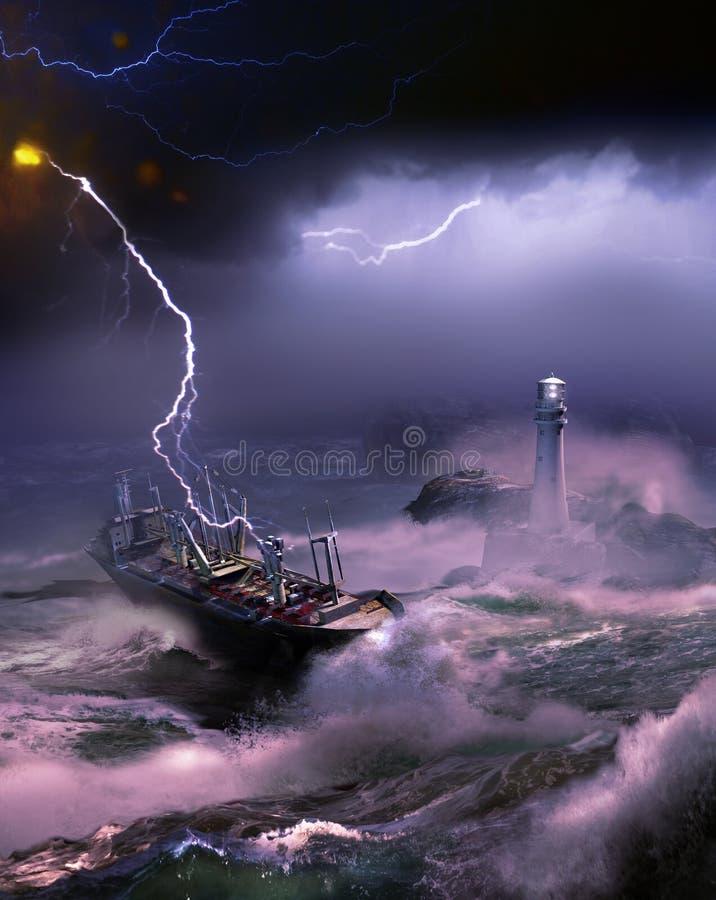 Arrivée sous la tempête illustration de vecteur