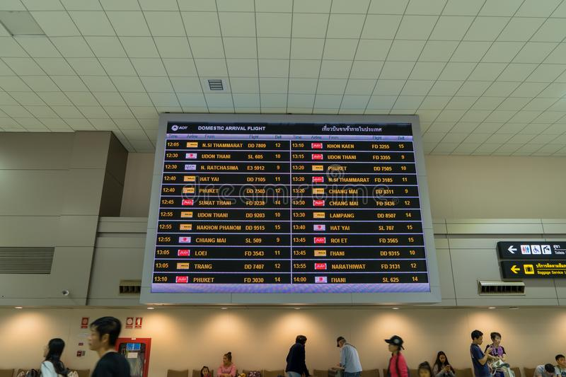 Arrival Board in Arrival Hall in Don Mueang International Airport. Thailand - January 02, 2018: Arrival Board in Arrival Hall in Don Mueang International Airport stock photos