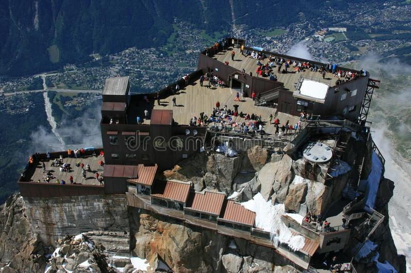 Arrival of cable car, aiguille du midi stock photography