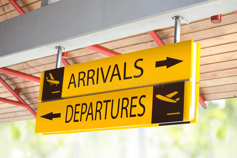 Arrival and Departures sign. At the airport royalty free stock images