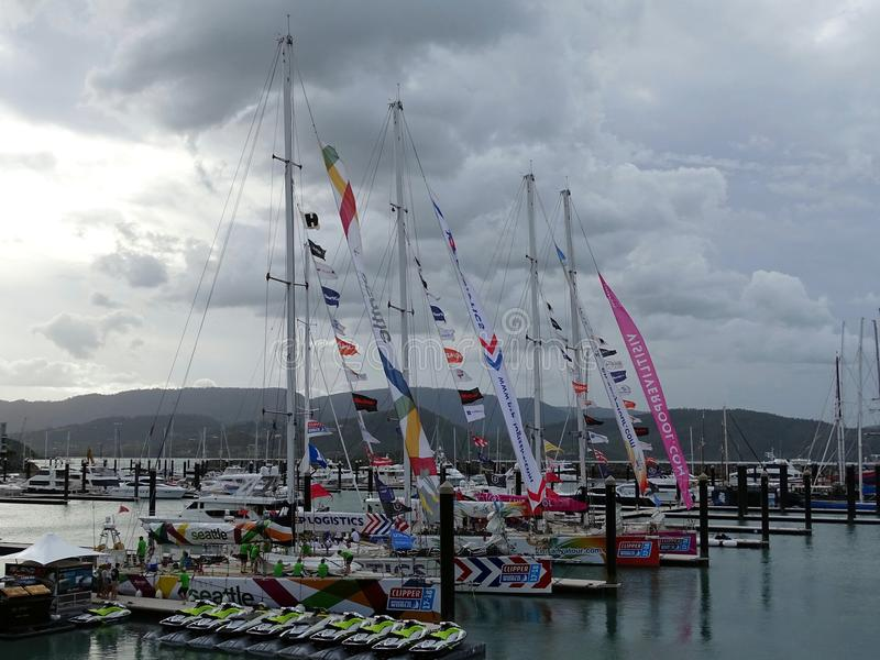Arrival of first four yachts into Airlie Beach on the Clipper Round the World royalty free stock photo