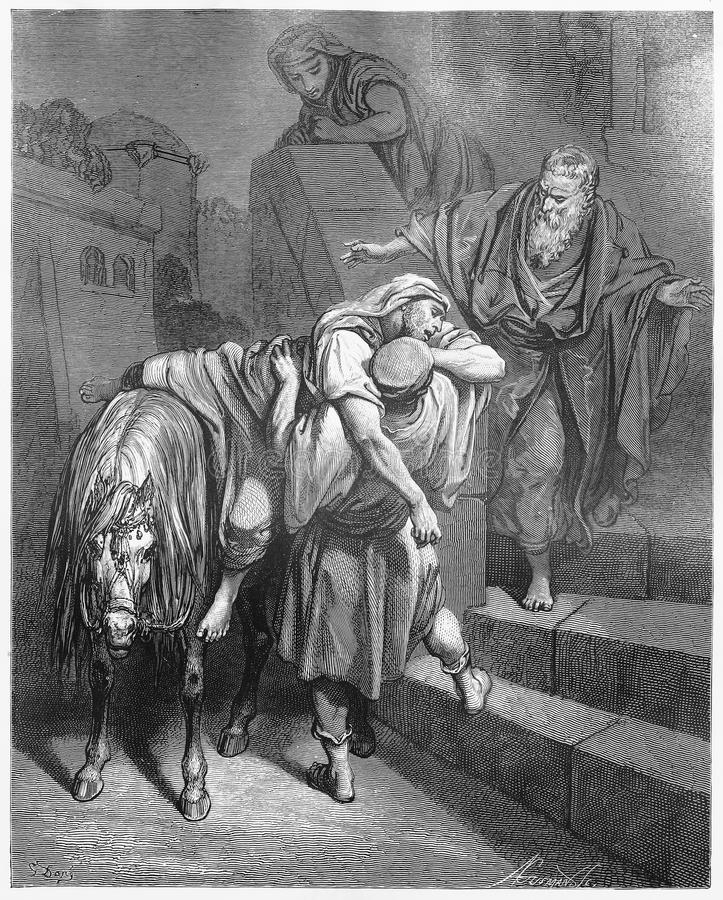 Arrival of the Good Samaritan at the Inn. Picture from The Holy Scriptures, Old and New Testaments books collection published in 1885, Stuttgart-Germany