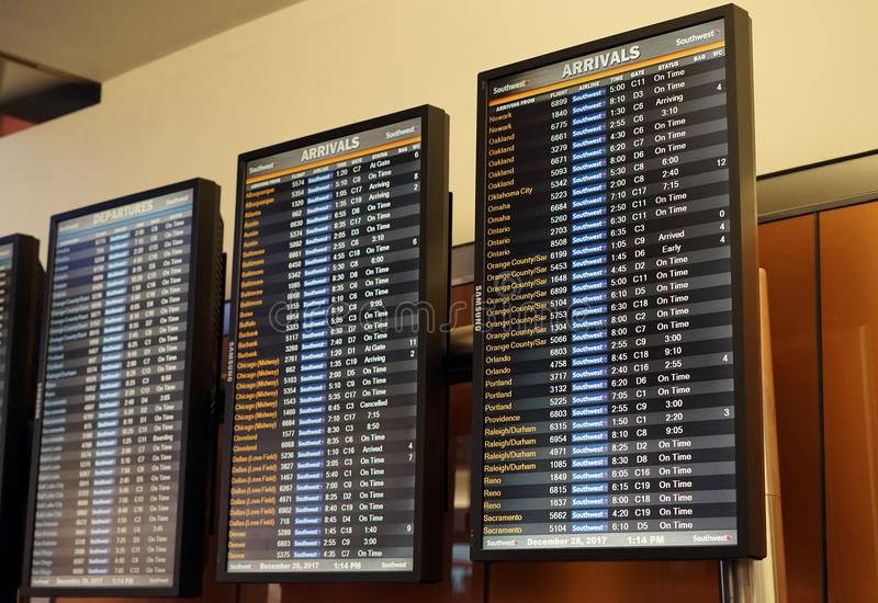Arrival schedules keep travelers updated stock images