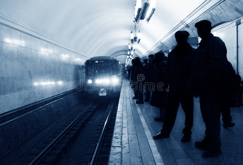 Arrival subway train royalty free stock photo