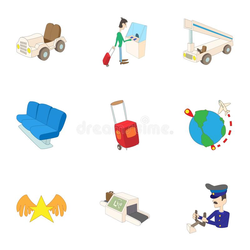 Arrive at airport icons set, cartoon style. Arrive at airport icons set. Cartoon illustration of 9 arrive at airport vector icons for web royalty free illustration