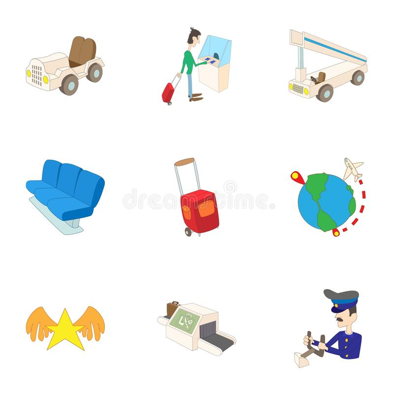 Arrive at airport icons set, cartoon style. Arrive at airport icons set. Cartoon illustration of 9 arrive at airport icons for web vector illustration