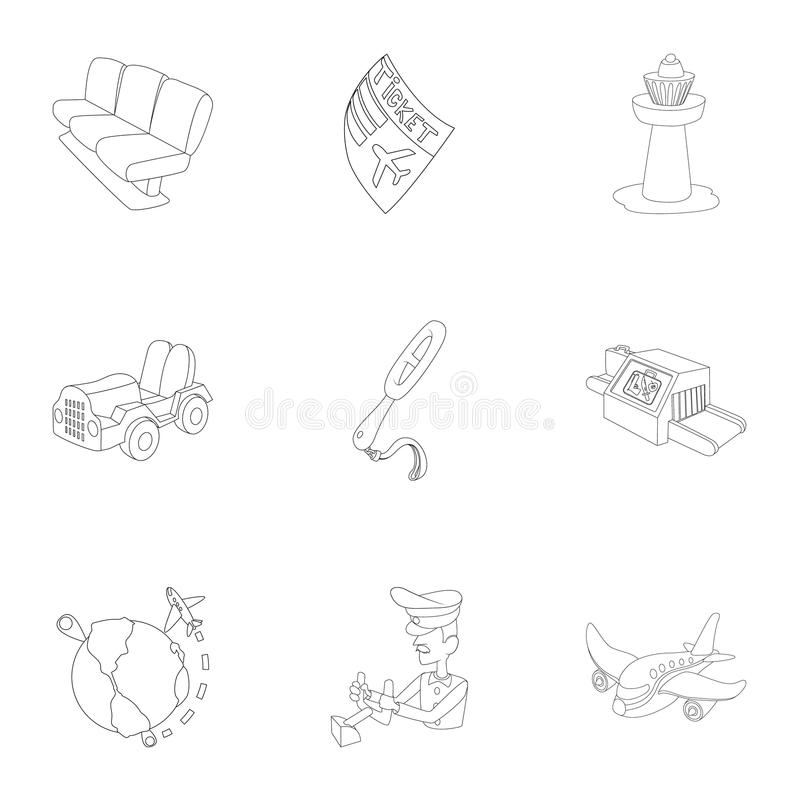 Arrive at airport icons set, outline style. Arrive at airport icons set. Outline illustration of 9 arrive at airport vector icons for web stock illustration