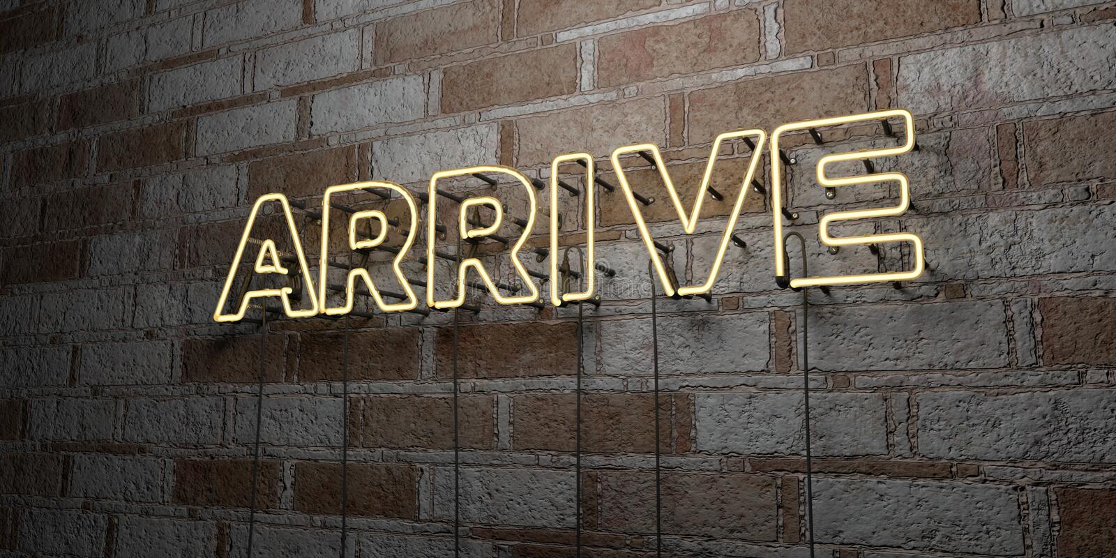 ARRIVE - Glowing Neon Sign on stonework wall - 3D rendered royalty free stock illustration. Can be used for online banner ads and direct mailers royalty free illustration