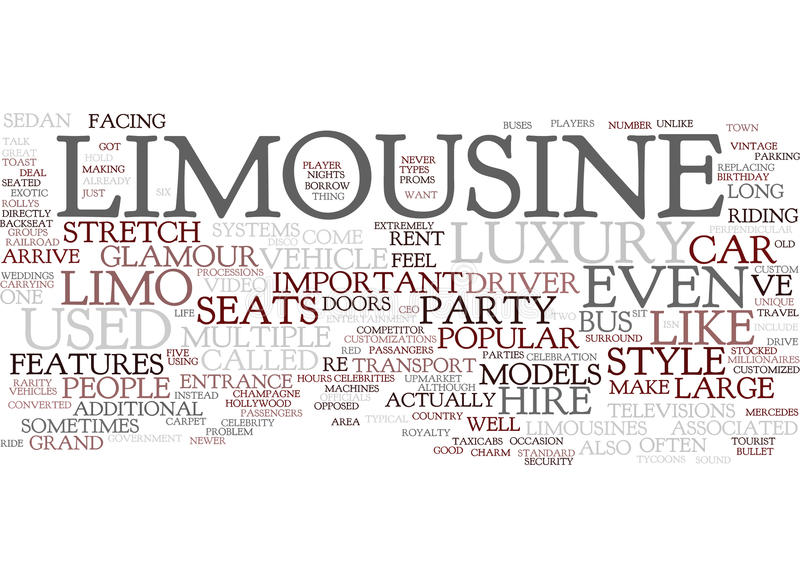 Arrive In Style Types Of Limousines You Can Rent Word Cloud Concept. Arrive In Style Types Of Limousines You Can Rent Text Background Word Cloud Concept vector illustration
