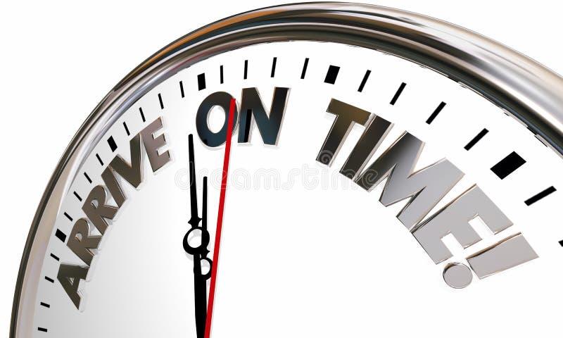 Arrive on Time Clock Punctual Schedule. 3d Illustration vector illustration