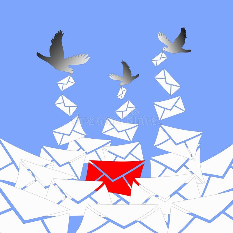 Arriving important message. The pigeons are bringing a lot of white letters and one red letter, the important message vector illustration