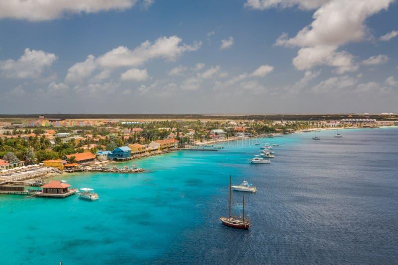 Arriving at Kralendijk, Bonaire stock image