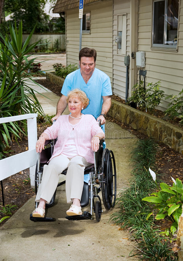Arriving at the Nursing Home stock photo