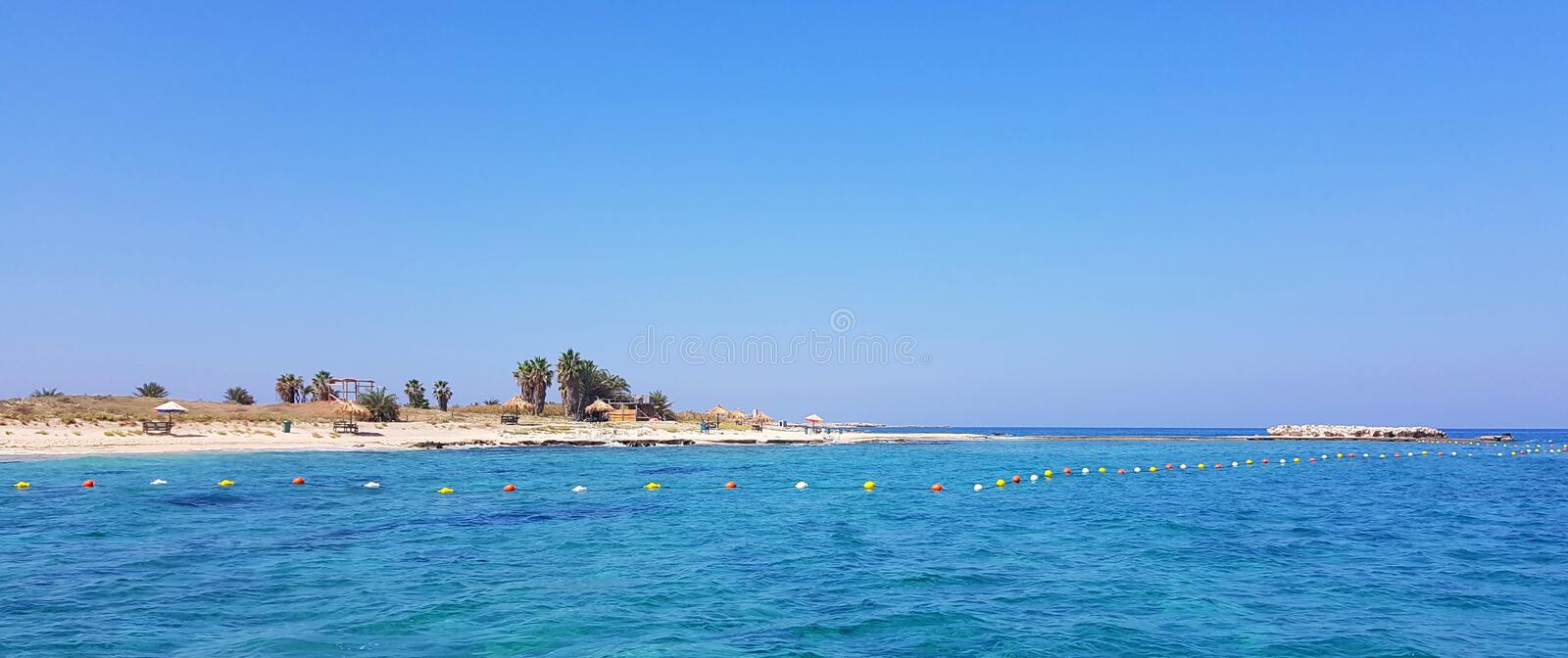 Arriving at Palm Island. Located a half hour ride from the port of Tripoli Lebanon stock images