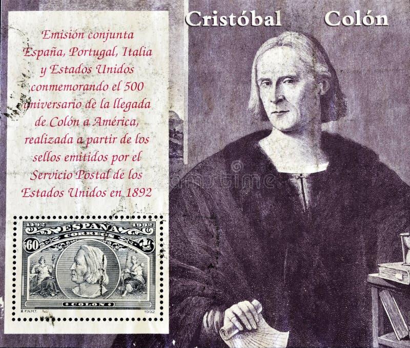 Arrivo del Columbus di commemorazione del bollo in America immagini stock