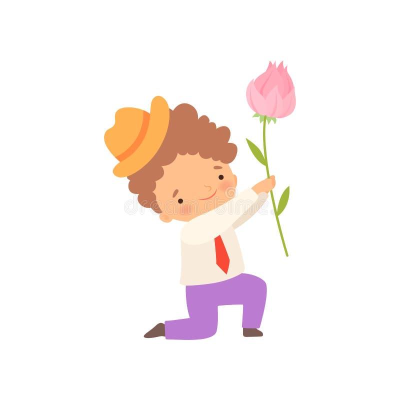 Arrodillamiento lindo Little Boy que da el rosa Rose Flower Cartoon Vector Illustration ilustración del vector