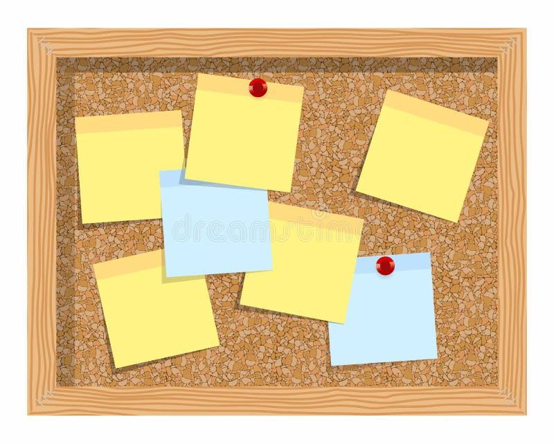 Arrolhe a placa com as folhas de papel para notas Fundo ilustração do vetor