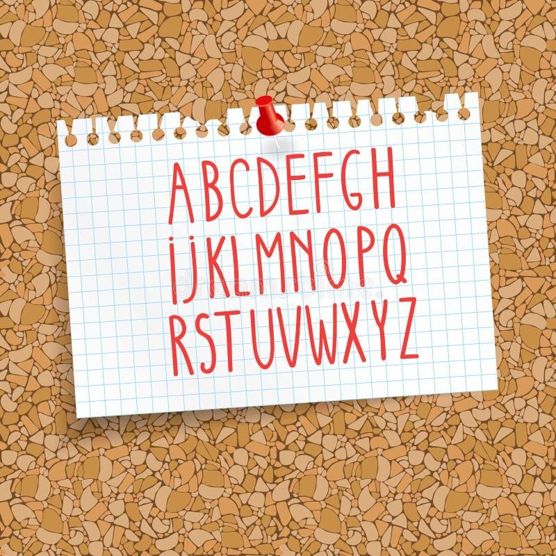 Arrolhe a placa com uma folha de papel fixada em uma gaiola alfabeto para escrever o texto placa sem emenda da cortiça do fundo ilustração do vetor