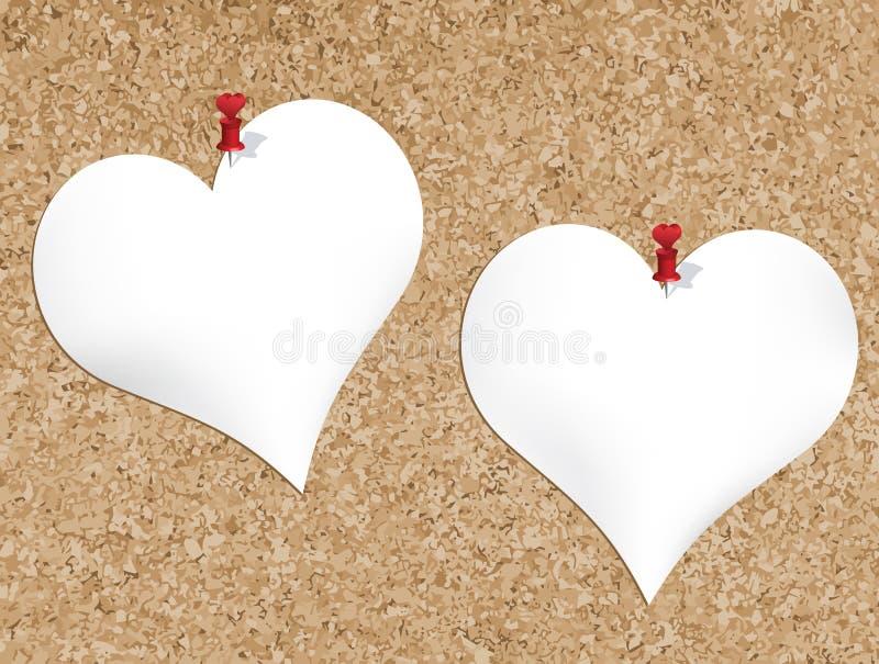 Arrolhe a placa de boletim com os blocos de notas dados forma coração ilustração stock