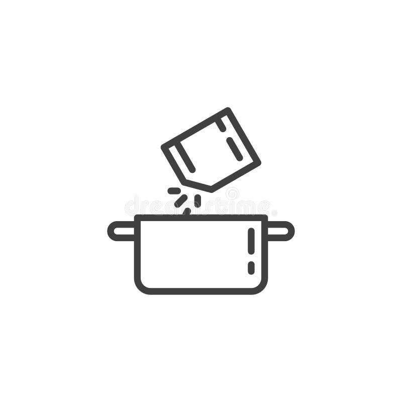 Arrosage des épices dans la ligne icône de casserole illustration libre de droits