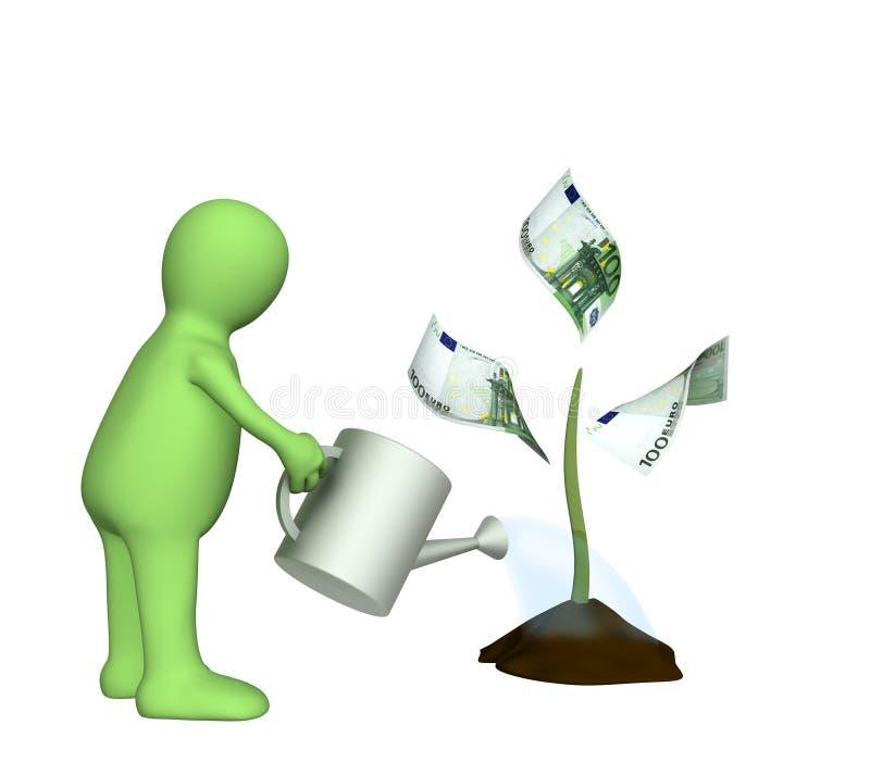 arrosage monétaire de marionnette de centrale illustration libre de droits