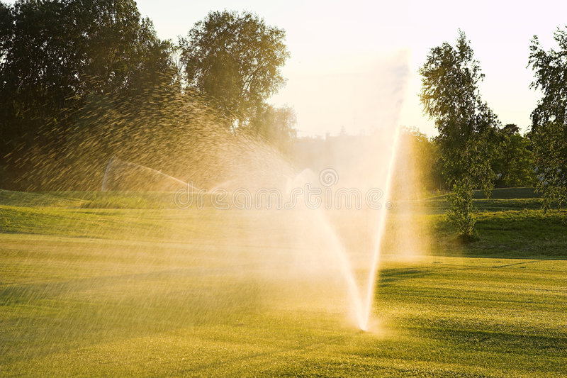 Arroseuse d'herbe de golf photo libre de droits