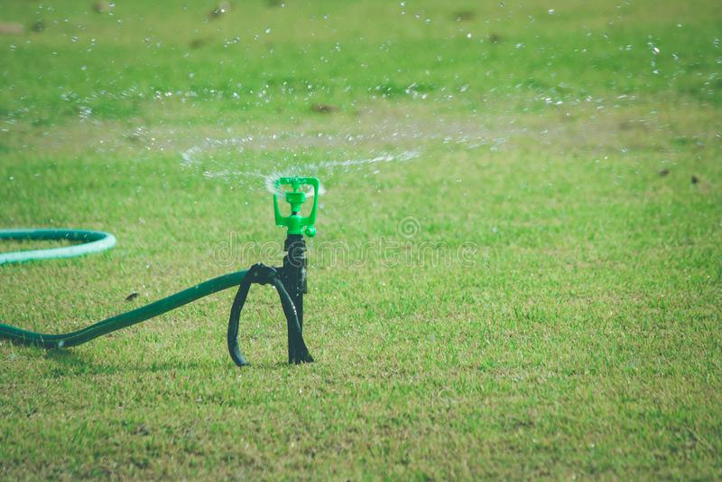 Arroseuse de l'eau de pelouse sur le pré de pulvérisation et de arrosage d'herbe verte au jardin extérieur en été saisonnier image stock