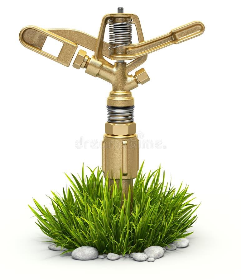 Arroseuse en laiton de l'eau de jardin sur l'herbe de buisson illustration de vecteur