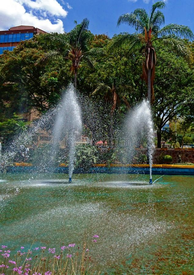 Arroseuses de l'eau par la fontaine photos stock