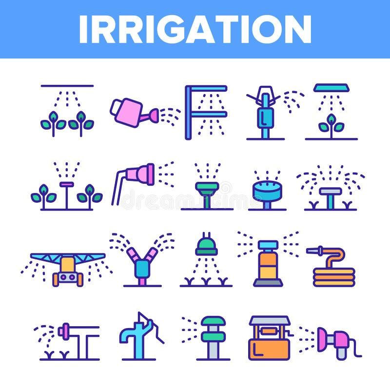 Arroseuses, ensemble linéaire d'icônes de vecteur de technologie d'irrigation illustration libre de droits