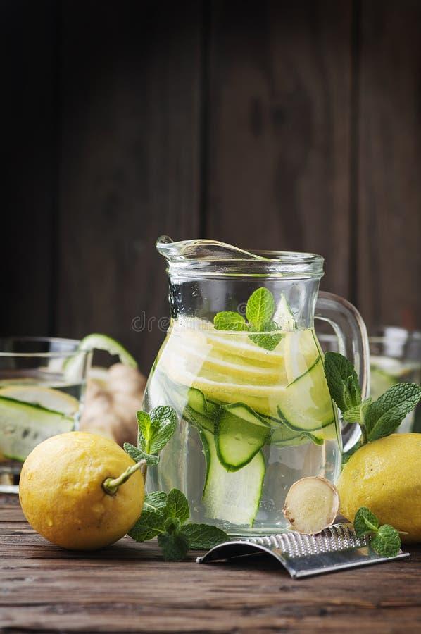 Arrosez impertinent avec le citron, le cucmber et le gingembre images libres de droits