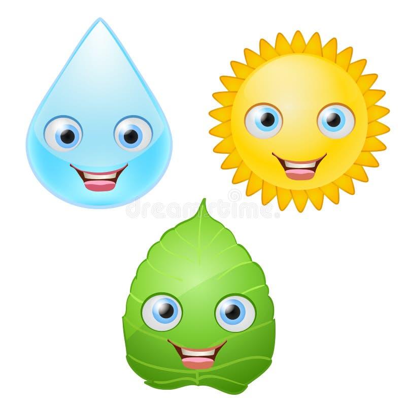 Arrosez la baisse, la feuille verte, caractères de sourire d'icônes du soleil avec des yeux illustration libre de droits