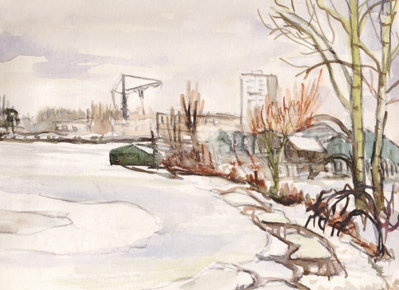 Arrosez la côte de bassin dans la ville de Dolgoprudnyj illustration libre de droits