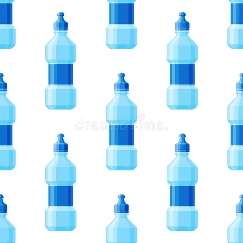 Arrosez le fluide sans couture d'aqua de fond de modèle de bouteille de vecteur de boisson de rafraîchissement minéral transparen illustration de vecteur