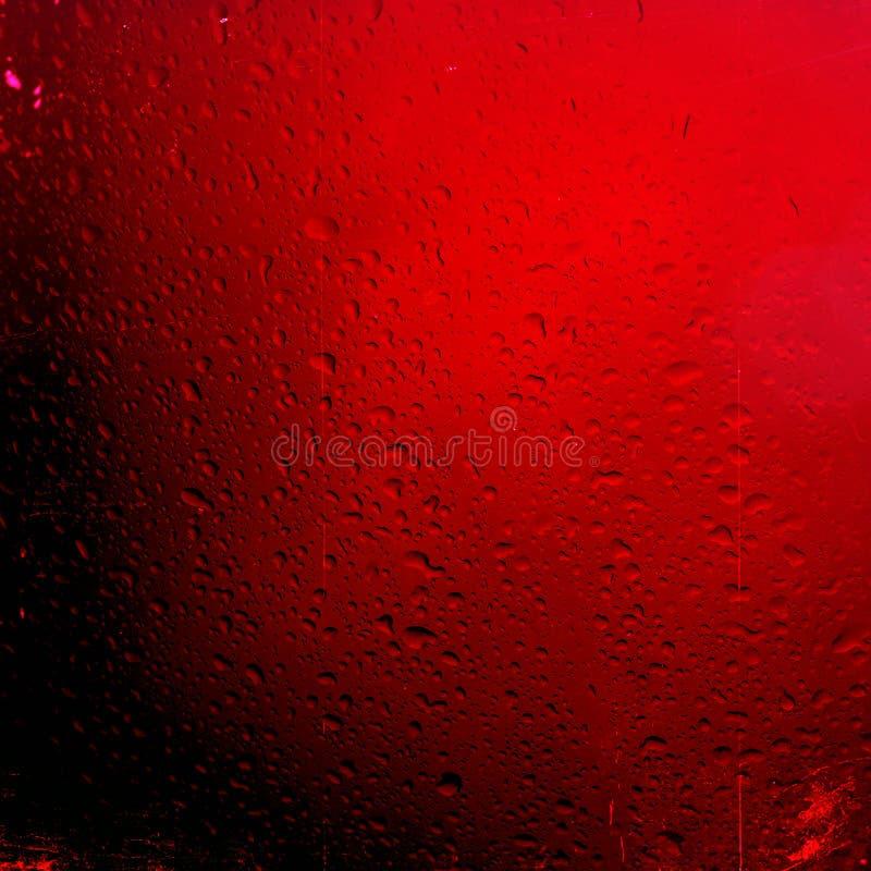 Arrosez le fond de baisses sur la surface brillante rouge, gouttelettes de pluie sur la texture rouge photos libres de droits