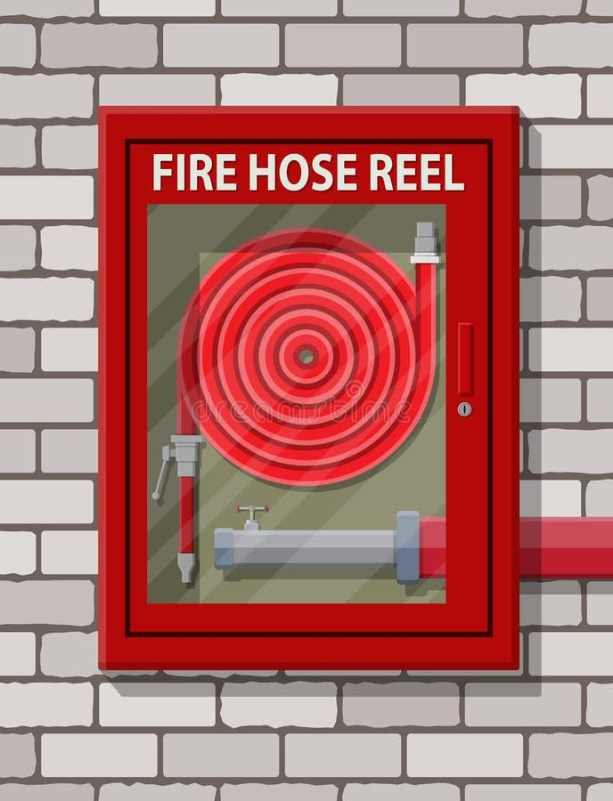 Arrosez le tuyau pour s'éteindre le feu dans le coffret illustration libre de droits