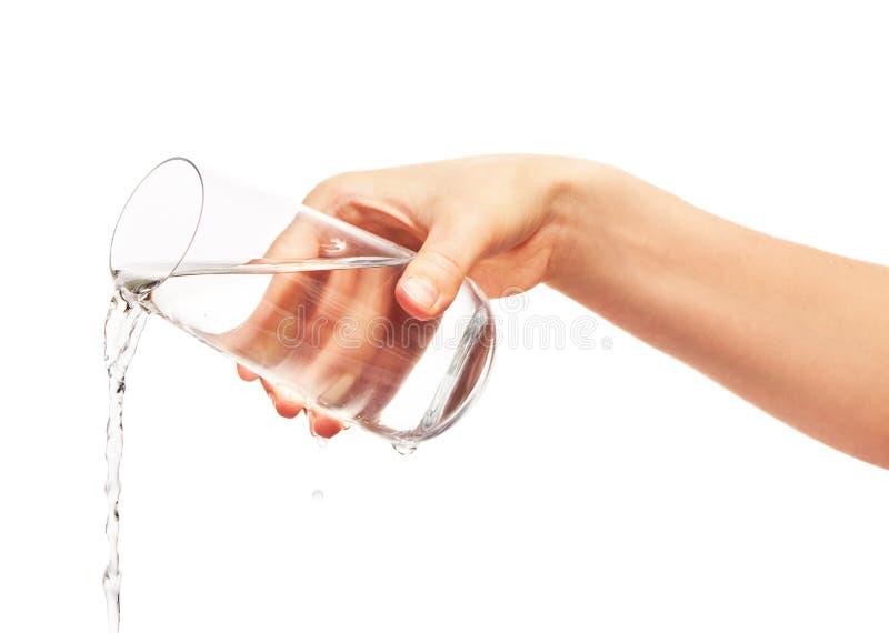 Arrosez le versement du plein verre à boire chez la main de la femme image libre de droits