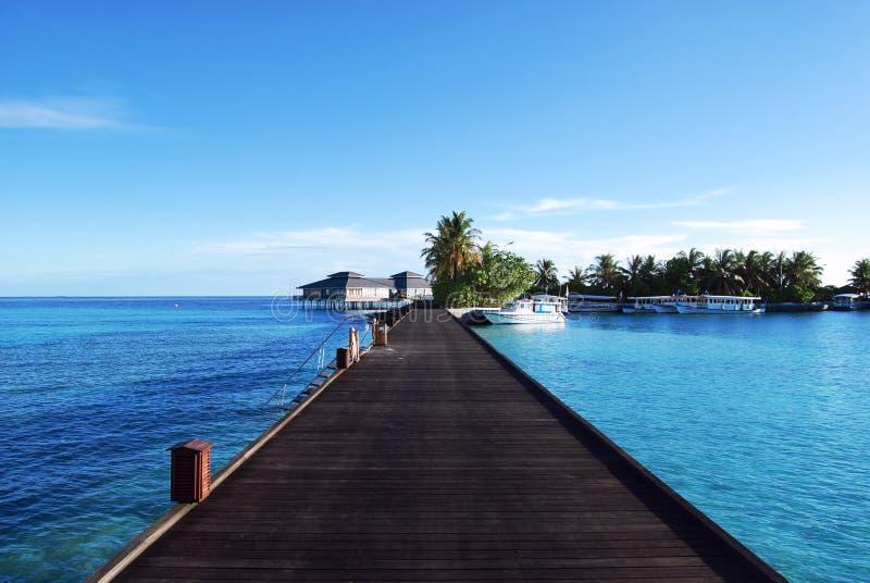 Arrosez les pavillons et l'océan de ciel et bleu bleu images libres de droits