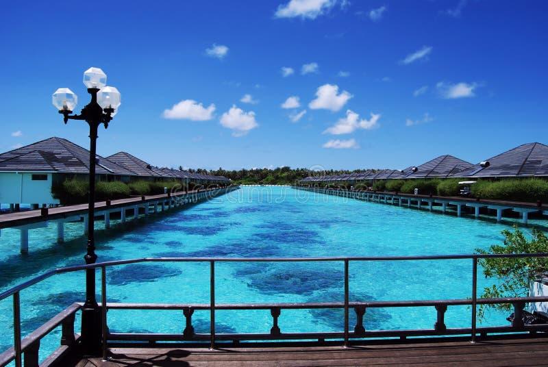 Arrosez les pavillons et l'océan de ciel et bleu bleu photographie stock libre de droits