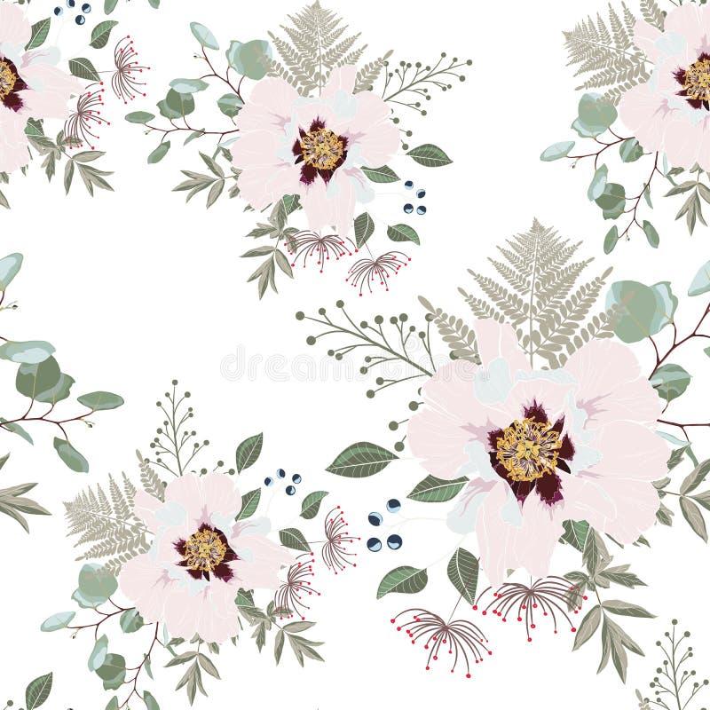 Arrossiscono i mazzi rosa sui precedenti bianchi Modello senza cuciture con i fiori delicati illustrazione vettoriale