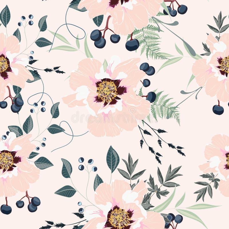 Arrossiscono i mazzi rosa sui precedenti dell'albicocca Modello senza cuciture con i fiori delicati illustrazione di stock
