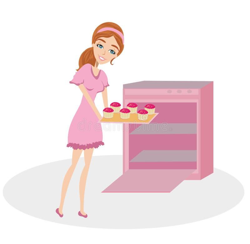 Arrosti della casalinga nei bigné del forno royalty illustrazione gratis